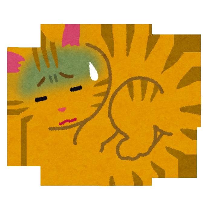 感染症で、具合の悪そうな猫のイラスト