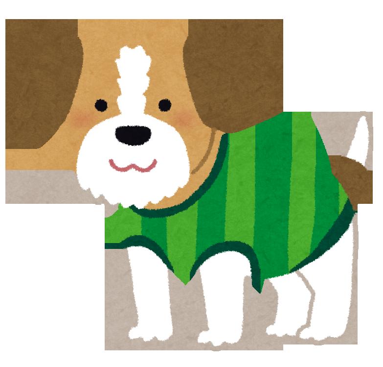 服を着せたイヌのイラスト